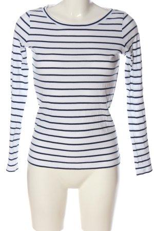Esprit Top à manches longues blanc-bleu motif rayé style décontracté