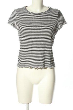 Esprit Rippshirt schwarz-weiß Streifenmuster Casual-Look