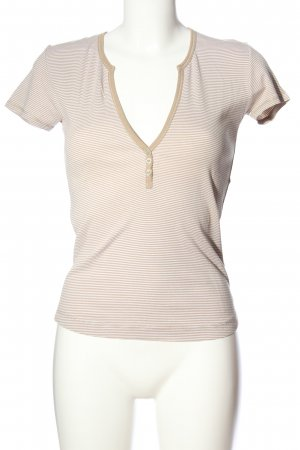 Esprit Geribd shirt bruin-wit volledige print casual uitstraling