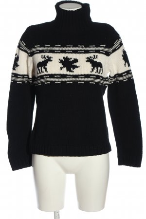 Esprit Rollkragenpullover schwarz-creme Motivdruck Casual-Look