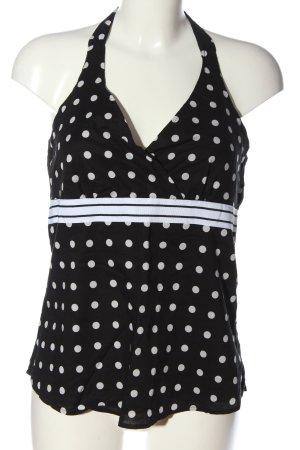 Esprit Top z odkrytymi plecami czarny-biały Wzór w kropki W stylu casual