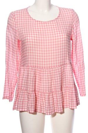 Esprit Rüschen-Bluse weiß-pink Allover-Druck Casual-Look