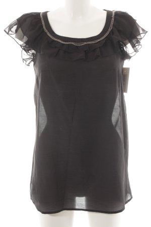 Esprit Rüschentop schwarz klassischer Stil