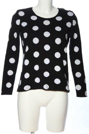 Esprit Rundhalspullover schwarz-weiß Punktemuster Casual-Look