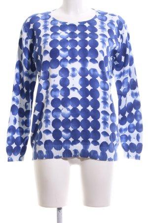 Esprit Rundhalspullover weiß-blau Punktemuster Casual-Look