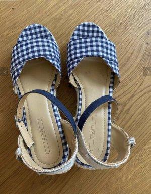 Esprit Sandale Keilabsatz Größe 39 NEU blau weiß karriert