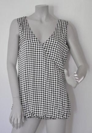Esprit Satin Bluse Polyester schwarz-weiß gepunktet Gr. 40 – WIE NEU