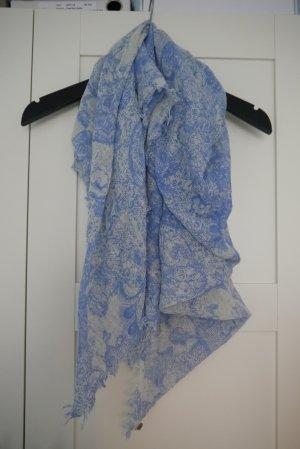 Esprit Schal Tuch hellblau weiß Muster kleine Fransen NEUw.