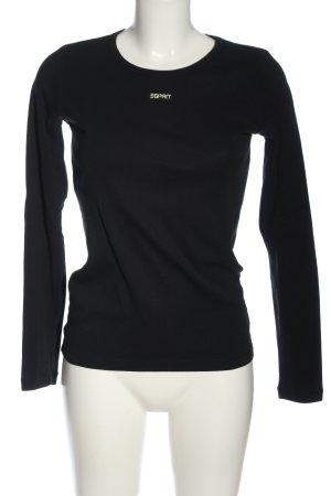 Esprit Schlupf-Bluse schwarz-weiß Schriftzug gedruckt Casual-Look