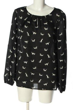 Esprit Schlupf-Bluse schwarz-weiß Allover-Druck Casual-Look