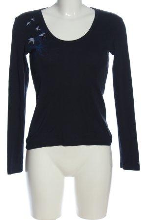 Esprit Schlupf-Bluse schwarz-blau Motivdruck Casual-Look
