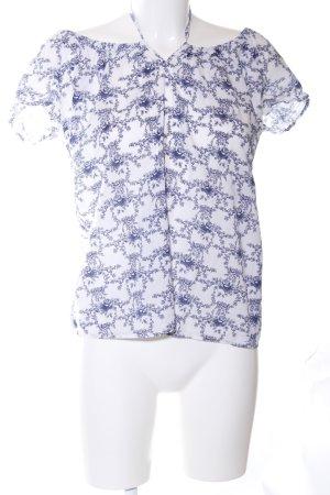 Esprit Schlupf-Bluse weiß-blau Allover-Druck Casual-Look