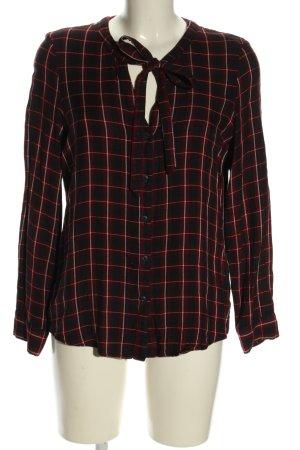 Esprit Bluzka z kokardą czarny-czerwony Wzór w kratkę W stylu casual