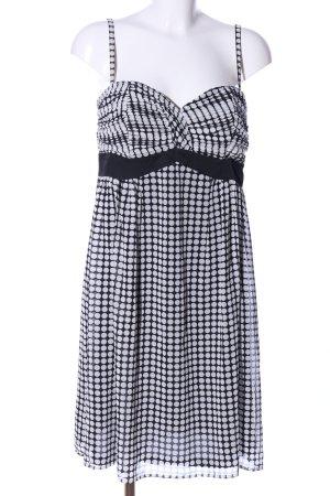 Esprit schulterfreies Kleid weiß-schwarz Punktemuster Casual-Look