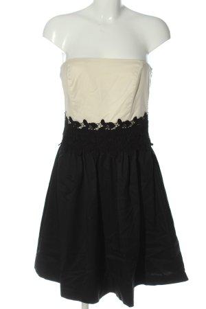 Esprit schulterfreies Kleid wollweiß-schwarz Elegant