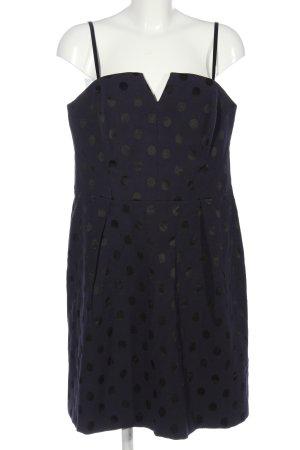 Esprit schulterfreies Kleid blau-schwarz Allover-Druck Casual-Look