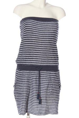 Esprit schulterfreies Kleid blau-weiß Streifenmuster Casual-Look