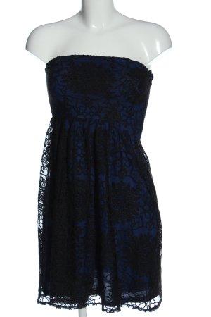 Esprit schulterfreies Kleid blau-schwarz Allover-Druck Elegant