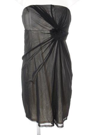 Esprit schulterfreies Kleid creme-schwarz Elegant