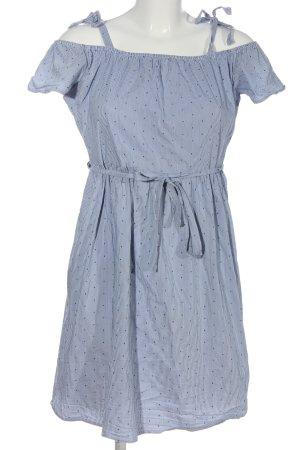 Esprit schulterfreies Kleid blau Punktemuster Casual-Look