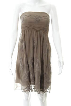 Esprit schulterfreies Kleid graubraun Elegant