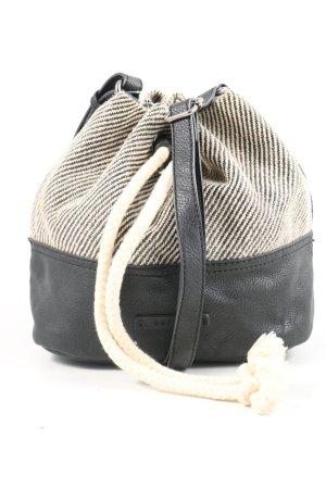 Esprit Schultertasche schwarz-wollweiß Streifenmuster Casual-Look