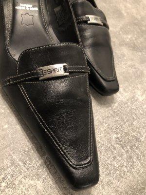 Esprit, schwarze Leder Pumps, Gr 39