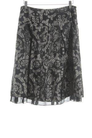Esprit Seidenrock schwarz-creme florales Muster Business-Look