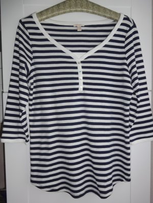 Esprit T-shirt col en V bleu foncé-beige clair