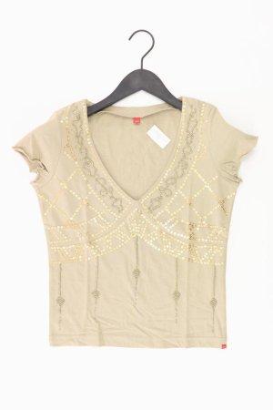 Esprit Shirt mit V-Ausschnitt Größe XS Kurzarm mit Pailletten Vintage creme aus Baumwolle