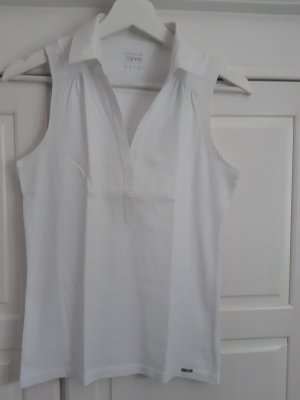 Esprit Shirt, ohne Arm m. Kragen, V-Ausschnitt, weiß, 38