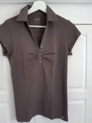 Esprit Shirt, V-Ausschnitt, Knopfleiste, glänzender Kragen, kurzarm in L