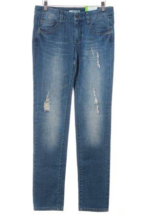 Esprit Slim Jeans graublau Logo-Applikation aus Leder