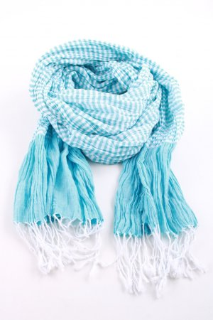 Esprit Summer Scarf turquoise-white striped pattern casual look