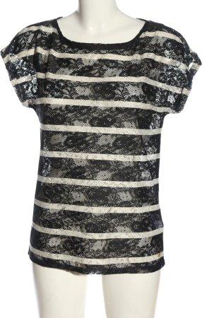 Esprit Lace Blouse black-white striped pattern elegant