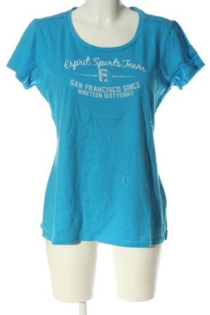 Esprit Sports Print-Shirt blau-weiß Schriftzug gedruckt Casual-Look