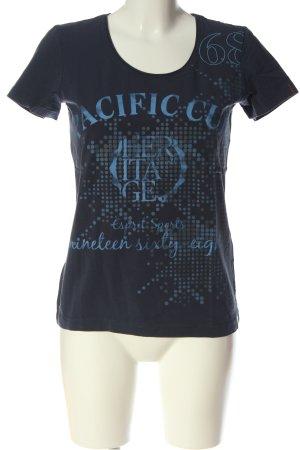 Esprit Sports Print-Shirt schwarz-blau Schriftzug gedruckt Casual-Look