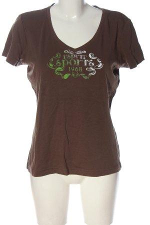 Esprit Sports V-Ausschnitt-Shirt braun Motivdruck Casual-Look