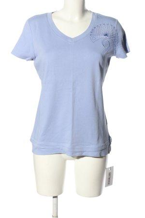 Esprit Sports V-Ausschnitt-Shirt blau Motivdruck Casual-Look