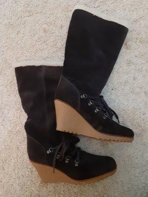 Esprit Platform Boots dark brown