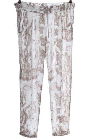 Esprit Stoffhose weiß-braun abstraktes Muster Casual-Look