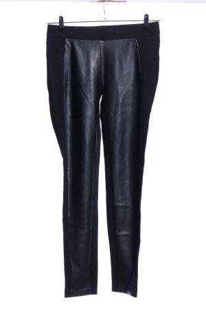 Esprit Stretchhose schwarz Lederelemente