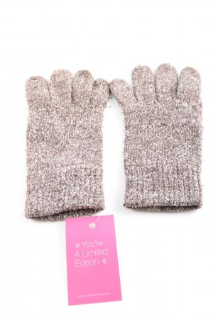 Esprit Knitted Gloves brown-natural white weave pattern casual look