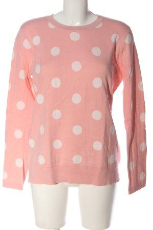 Esprit Strickpullover pink-weiß Punktemuster Casual-Look