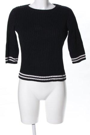 Esprit Strickpullover schwarz Streifenmuster Casual-Look