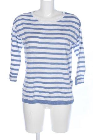 Esprit Strickpullover blau-weiß Streifenmuster Casual-Look