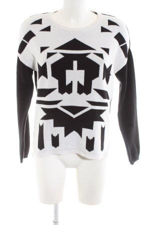 Esprit Strickpullover schwarz-weiß abstraktes Muster Casual-Look
