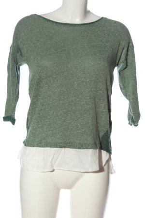 Esprit Strickshirt grün-weiß meliert Casual-Look
