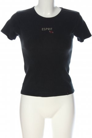 Esprit Strickshirt schwarz Motivdruck Casual-Look