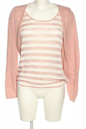 Esprit Strick Twin Set pink-weiß Streifenmuster Casual-Look